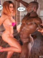 Interracial 3d porn pics of huge cock black dudes undressing and fucking white cuties.